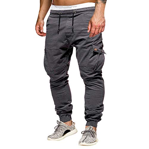 Seaintheson Men's Casual Cargo Pants,Solid Color Slim Fit Drawstring Sweatpants Fashion Sports Workout Trousers with Pocket - Mens Bermuda Response