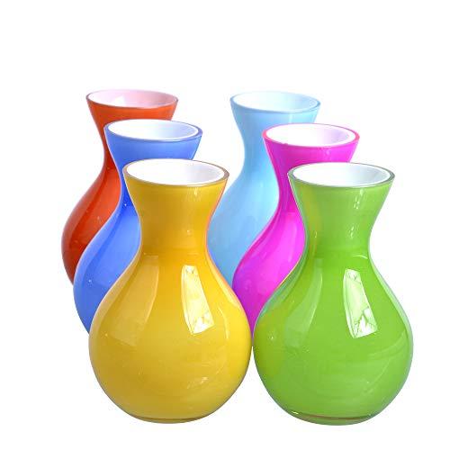 Decorative Hand Blown Colored Art Small Modern Glass Vase and Filler Flower Bud Flower Bud Glass Vase Set of 6 Vase for Decoration.