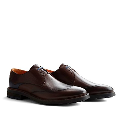 Reading Business Schuhe | Derby | Schnürhalbschuhe Herren | Freizeitschuhe Hochzeitschuhe | Anzugschuhe | Lederschuhe in Cognac & Braun Dunkelbraun