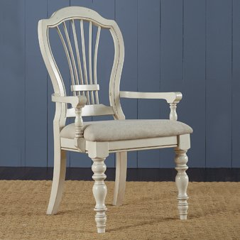 Hillsdale Pine Island Wheat Back Arm Dining Chair (Set of 2) ()