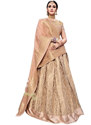 Ethnicwear Rose Beige Elegant Simple Sober Banarsi Silk Party Wear Wedding Party Reception Wear Lehanga Choli Dress