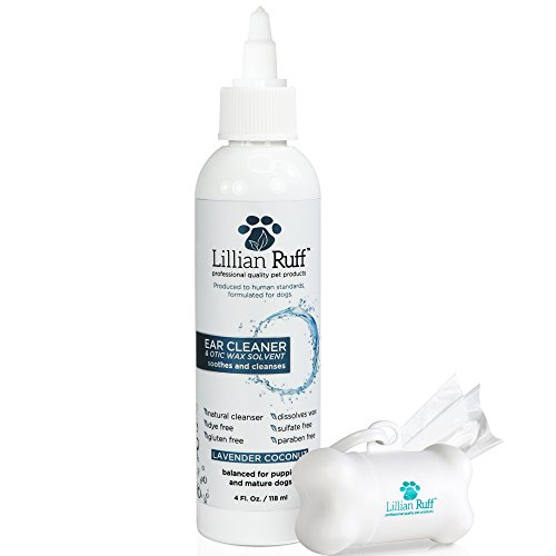 Lillian Ruff Ear Cleaner for Dogs and Otic Wax Solvent with Aloe - Coconut and Lavender Scent - Dissolve Wax and Eliminate Ear Odors with Tea Tree Oil and Bee Propolis - Safe for Sensitive Ears