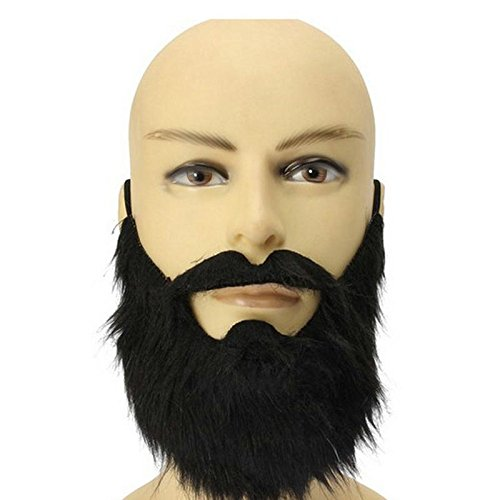Masquerade Party Dress Code (1 Piece of Halloween party dress black beard theatrical prop cos Tricky masquerade Fancy Pirate Dwarf Elf Costume fake beards and mustaches)