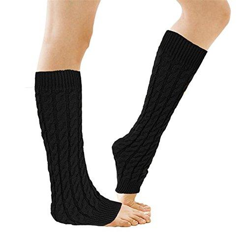 Senchanting Women Lady Fashion Knee High Leg Socks Banket Winter Knit Crochet Warmer Legging- Black (Black Knit Leg Warmers)