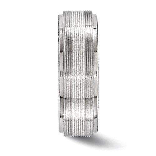 Edward Mirell Titanium w/14k White Gold Textured Lines 7.5mm Band