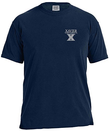 NCAA Xavier Musketeers Simple Circle Comfort Color Short Sleeve T-Shirt, True Navy,Large ()