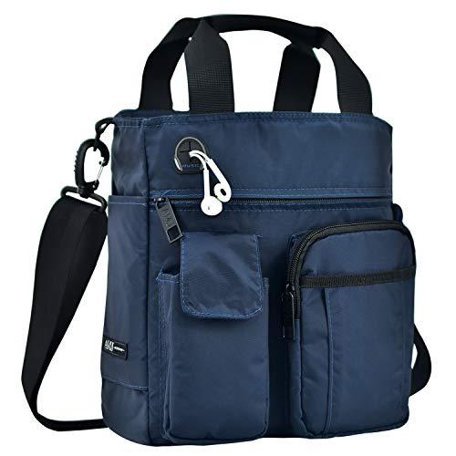 AMJ Small Shoulder Messenger Bag for Men & Women Multifunctional Crossbody Bag Business Laptop Bag for Travel/School Navy Blue
