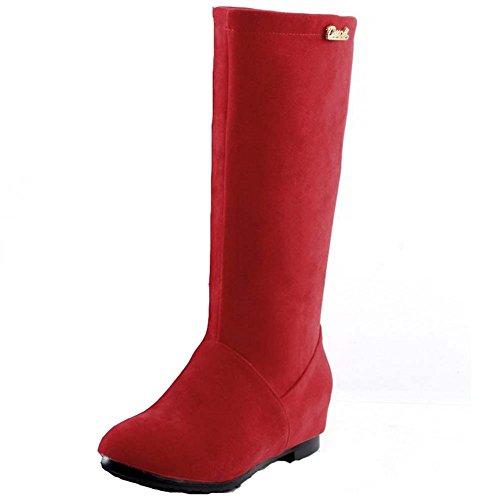 BalaMasa Womens Flats Shoes Mid Calf PU Snow Boots Red 8YPAchd