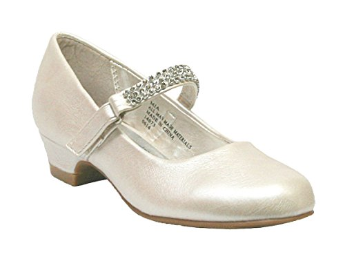 Swea Pea & Lilli Girl's Low Heel Girls Dress Shoe with Rhinestone Strap Ivory 13