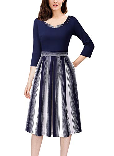 (VFSHOW Womens Colorblock Pockets Work Business Office Casual A-Line Dress 1382 BLU S)