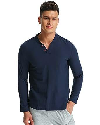 MODCHOK Hombre Camiseta Manga Larga Henley T-Shirt Sudaderas Cuello V Casual Algodón 7wxa8Hpi