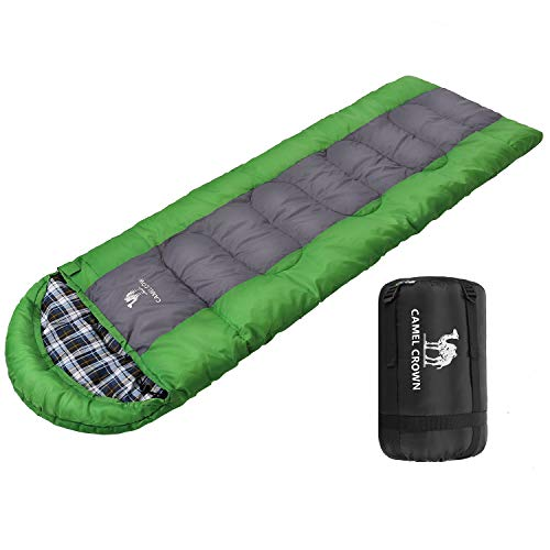 CAMEL CROWN Sleeping Bag Envelope Lightweight Portable Camping Sleeping Bags 4 Season with Compression Sack for Traveling Hiking Backpacking Outdoor