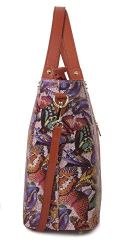 floral De Genuino Tienda Italiano Del Franja Gran Asa Superior Emily Totalizador Blanco Bandolera Bolsos Cuero Roja H057xa