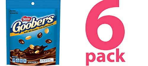 - 6 Pack Goobers Stand Up Chocolate Bag freshly roasted peanuts generously covered in creamy nestle milk chocolate , 8 oz