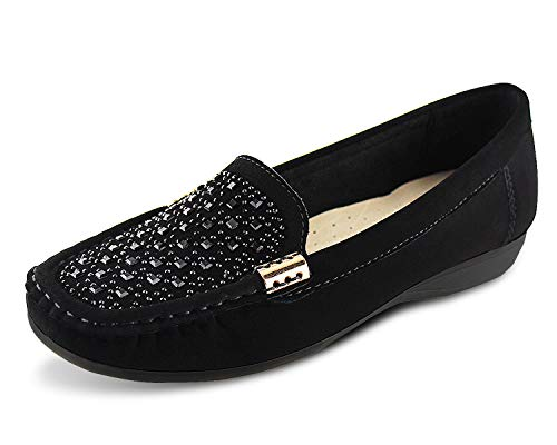 Jabasic Women Penny Moccasins Loafers Comfortable Slip On Driving Flats Shoes(5,Black-2)