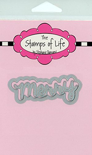 The Stamps of Life Word Merry Christmas Die Set for Card Making and Scrapbooking Supplies and DIY Crafts by Stephanie Barnard - Christmas Sentiments -