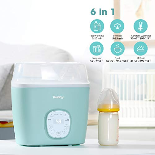 Baby Bottle Warmer, Pelaby 6-in-1 Milk Warmer with Fast Heating, Timer, LCD Touch, Steam Sterili-ze, Temperature Control, Auto Power-off, Defrost Food, BPA-Free Baby Food Warmer for Breastmilk/Formula