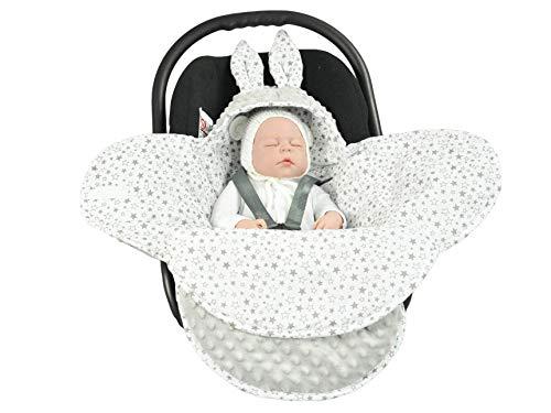 Manta para bebe EliMeli universal para capazo, silla de coche, cochecito y cuna, muy alta calidad, manta Minky gris Grey - Grey Stars