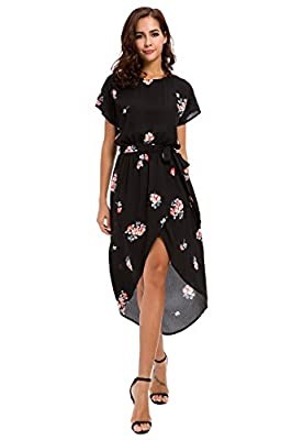 Justalwart Short Sleeve Boho Floral Dresses with Waistband Front Short Black Long Sexy Dress