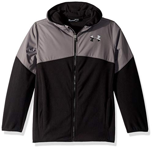 Under Armour Boys' Big Print North Rim Micro Fleece Hoody, Black/Grey, X-Large (18/20)