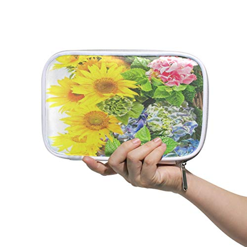 Sunflowers And Hortensia Blossoms Big Pencil Case Multifunction Leather Cosmetic Brush Set Bag Organizer Zip Bags