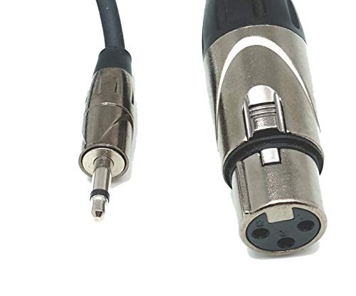 Mini Jack 3.5mm (1/8 Inch) T/S Mono Male to XLR Female Interconnect Audio Cable - 3.0 Feet Signal Breakout Cord ()