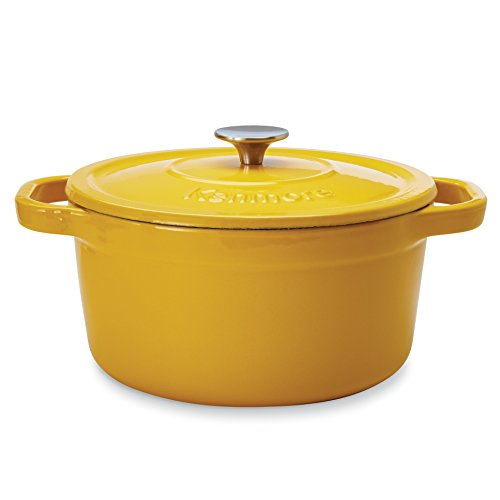 Kenmore 19247 5.5 Quart Cast Iron Enameled Coated Dutch Oven in Yellow ()