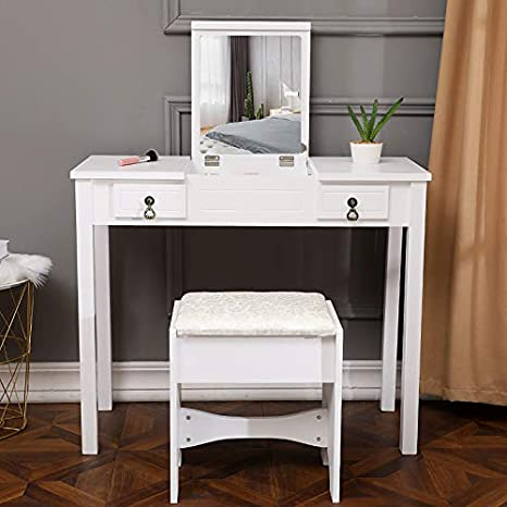 Amazon Com Goujxcy Vanity Dressing Table Bathroom Vanity Makeup Dressing Table With Flip Top Mirror 2 Drawers Bedroom Vanities With Stool White Kitchen Dining