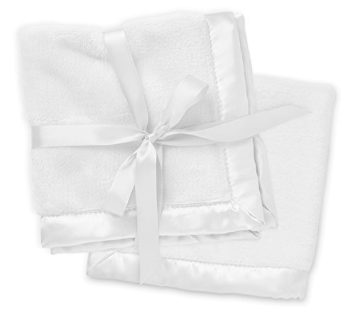 2 White Security Blankets, Baby Blankie Small Mini Blanket, 15 Inches x 15 Inches, Set of 2, Satin Trim, 2 Pack