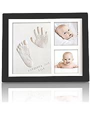 KeaBabies Baby Handprint Footprint Keepsake Kit - Baby Prints Photo Frame For Newborn - Baby Nursery Memory Art Kit Frames - Baby Shower Picture Frames Boys,Girls - Baby Registry Gift Box (Onyx Black)