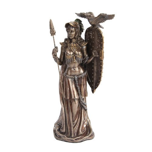 Greek Goddess Athena w/ Owl Spear & Shield Statue Sculpture Figure-Bronze Finished PTC 6137102