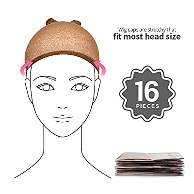 16 Pack Nylon Wig Caps, Teenitor 8 Pack Brown Skin Tone Stocking Caps & 8 Pack Light Brown Caps for Wigs Women