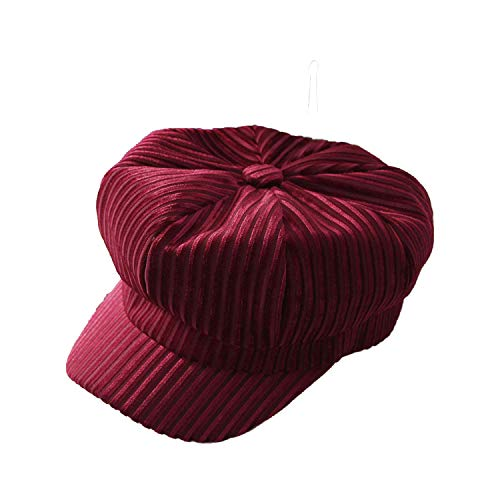 Women Hat Berets Autumn Winter Warm Velvet Beret Cap Vintage Fashion Solid Color Stripes Octagonal Newsboy Hat