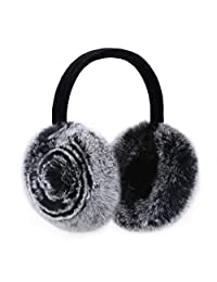 Rabbit Hair Earmuff for Winter, Soft and Warm,Foldable and Easy Carry (Black)