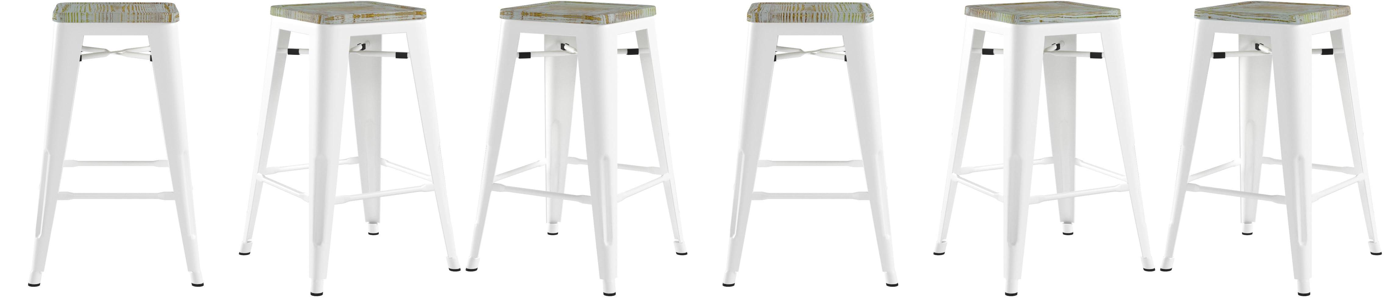Amazon Com Osp Home Furnishings Bristow Antique Metal Barstool With Vintage Wood Seat 26 Inch White Frame Pine Irish 4 Pack Furniture Decor