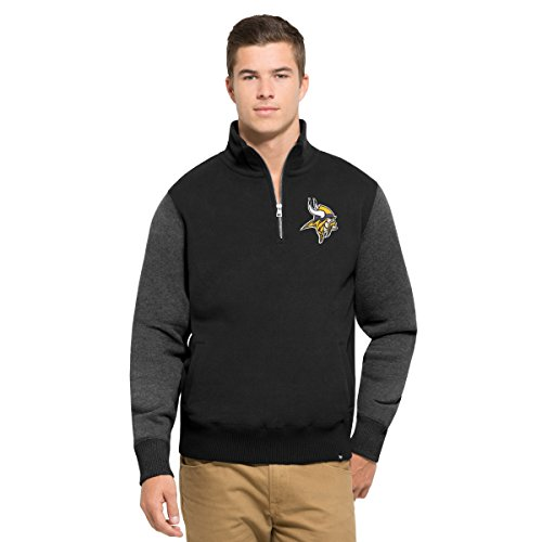 Fleece Minnesota Twins Pullover - '47 NFL Minnesota Vikings Men's Triple Coverage 1/4-Zip Pullover Fleece, Small, Jet black