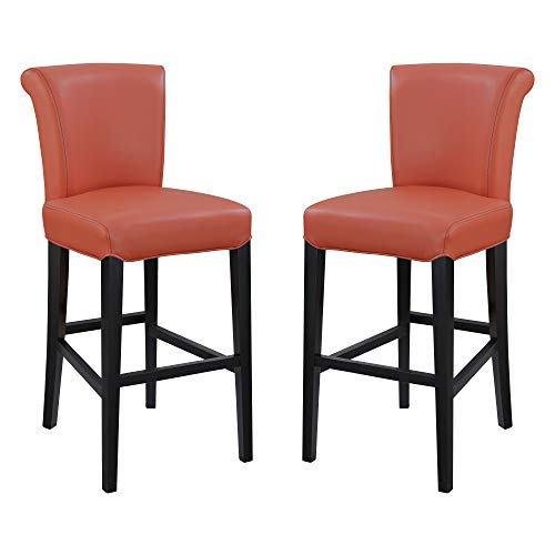 "Livingston III 30"" Bar Stool in Bold Orange with Faux Leather Upholstery And Curved Back, Set of Two, by Artum Hill"