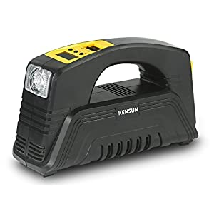 Kensun AC/DC Rapid Performance Portable Air Compressor Tire Inflator with Digital Display for Home (110V) and Car (12V) - 30 Litres/Min