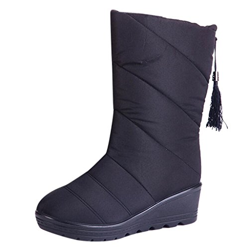Binying Womens Casual Down Mid-high Snow Boots Nero