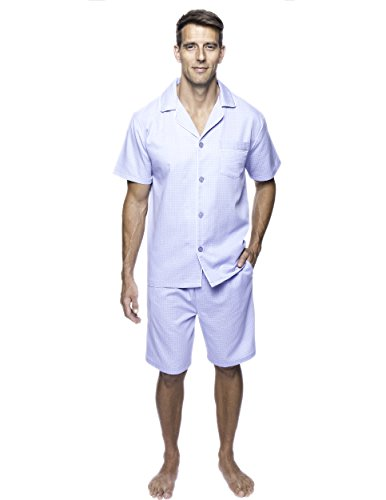 Noble Mount Twin Boat Men's Cotton Short Pajama Set - Micro Checks Light Blue - X-Large by Noble Mount