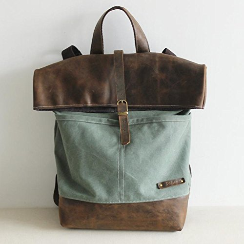 Handcrafted Waxed Canvas Travel Backpack Hiking Rucksack Laptop Backpack