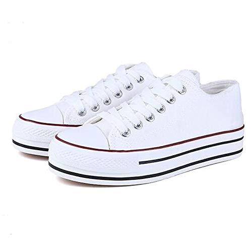 Spring ZHZNVX Canvas Heel Sneakers Negro de Flat Blanco Mujer Rojo Comfort Black Zapatos w1qrIqCp