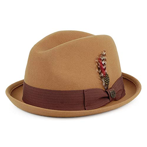 BRIXTON Men's GAIN Short Brim Felt Fedora HAT, Brass, M