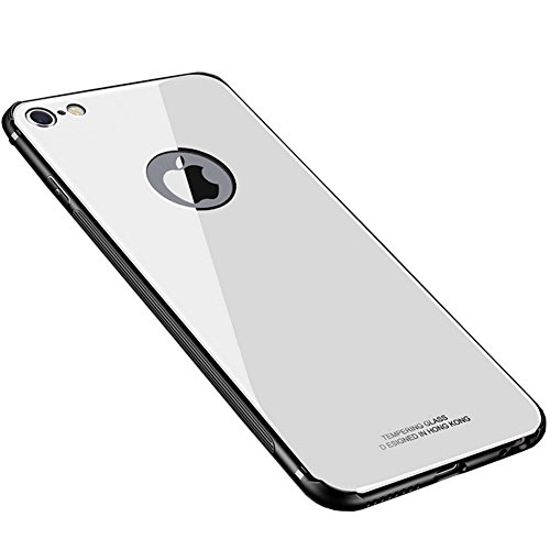 Price comparison product image HONTECH iPhone 6 Case,  Shockproof HD Tempered Glass Back Cover TPU Bumper Shell For Apple iPhone6 (White)