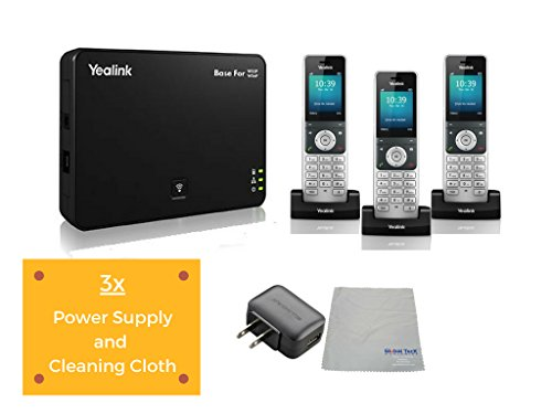 (Yealink W56P IP Cordless Phones Office Bundle-DECT Handset and Base Unit, Power Supply and Microfiber Cloth #YEA-W56P-VB3 | Requires VoIP Service (Yealink W56P Base and 3 handsets))