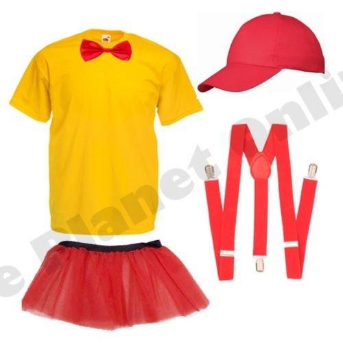 Childrens Girls Tweedle Dee Dum Alice in Wonderland Fancy Dress Costume Top Cap Bow Tie Braces Skirt (9-12 years) by Blue Planet (Tweedle Dee Fancy Dress)