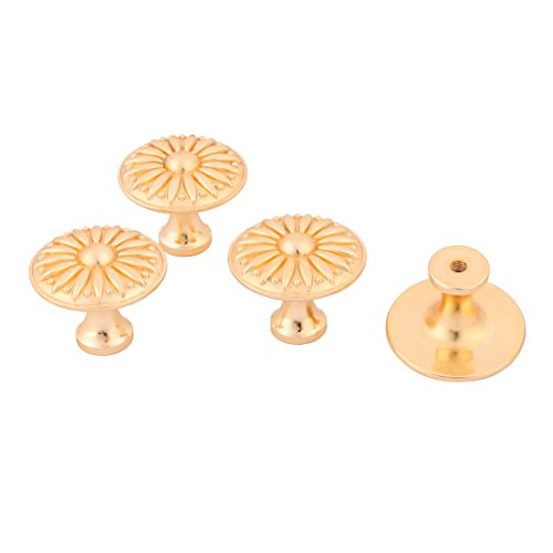 uxcell Metal Home Kitchen Door Cabinet Dresser Hardware Pull Handle Knob 4pcs Gold Tone by uxcell