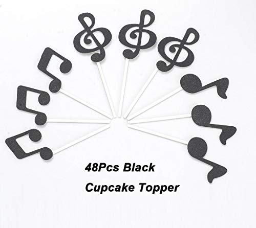 GAKA Black Glitter Music Note Cupcake Toppers,Music Clef Cake Topper,for Music Themed Events,Rock Star Party,Karaoke Party Supplies Black Party Musical Cake Decorations,Pack of 48