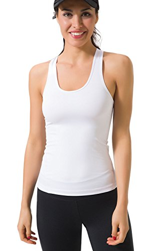 Zevrez Women's Workout Vest Compression Racerback Stretch Tank Top(White,S)