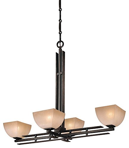 Savannah Four Light Bath - Minka Lavery Chandelier Pendant Lighting 1274-357, Lineage Glass 1 Tier Dining Room, 4 Light, 400 Watts, Iron